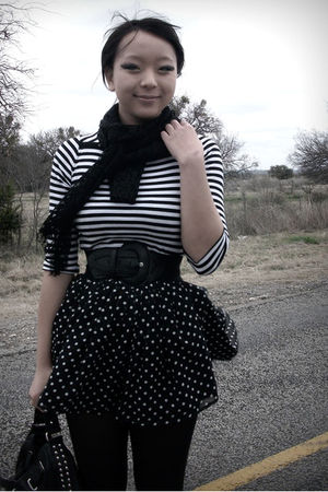 black skirt - black shirt - black accessories - black belt - black scarf