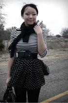 black skirt - black shirt - black accessories - black belt - black scarf
