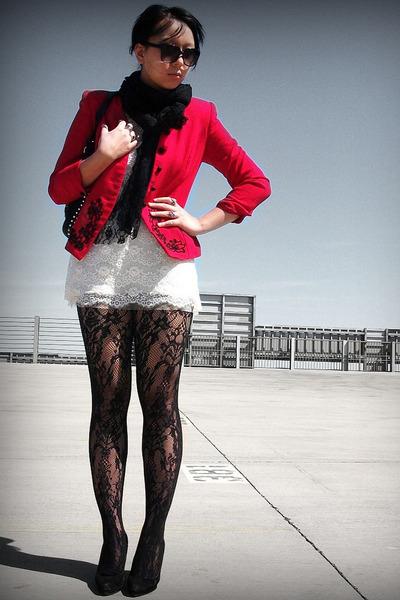 Topshop tights - f21 dress - red vintage blazer - Etsy scarf