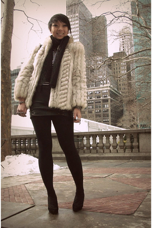 beige vintage coat - black f21 skirt - Jcpenny shirt - random scarf - random acc