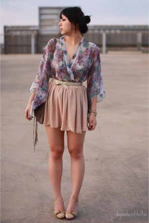 floral Topshop blouse - chiffon American Apparel skirt