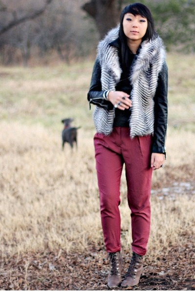 ruby red Urban Outfitters pants - black Forever 21 jacket - brown Halogen boots