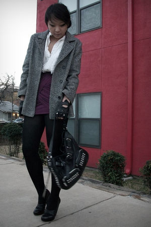 purple skirt - gray vintage coat - white vintage shirt - black Aldo shoes - blac