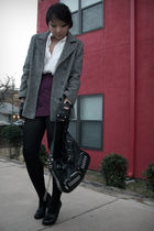 purple skirt - gray vintage coat - white vintage shirt - black Aldo shoes - blac