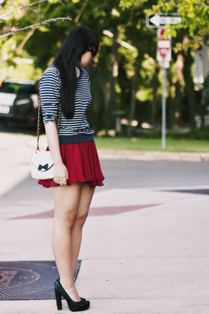 navy striped Forever 21 shirt - red polka dot lucca couture skirt - black River 