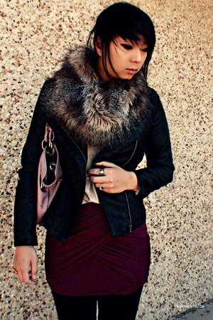 charcoal gray fur asos scarf - black leather Forever 21 jacket