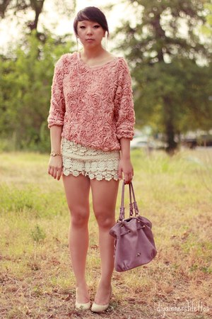 light pink floral American Apparel jumper - light purple leather overstock bag