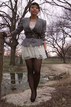 gray vintage blazer - Charlotte Russe belt - Topshop dress - f21 tights - Etsy g