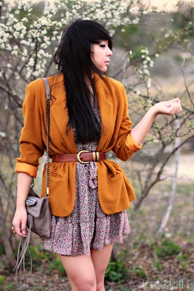 pink floral Forever 21 dress - orange wool vintage blazer