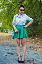 green chiffon Forever 21 skirt - aquamarine gingham Old Navy shirt