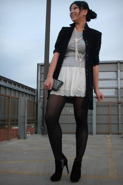 black thrifted blazer - white free ppl skirt - Ebay necklace - Bakers boots - UO