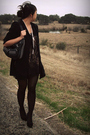 Beige-f21-dress-black-thrifted-blazer-white-ebay-necklace-black-f21-tights