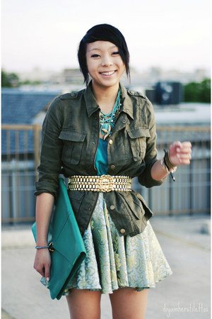 gold vintage belt - army green military jacket Forever 21 jacket