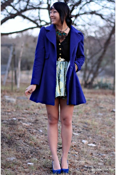 blue laundry coat - green diy skirt - black Forever 21 shirt