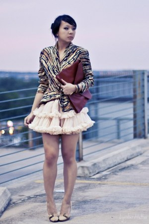 dark brown clutch asos bag - bronze animal print thrifted blouse - peach tutu Am