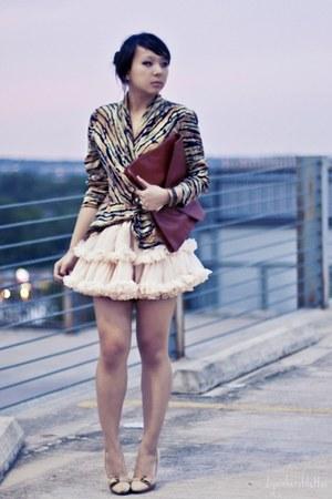 dark brown clutch asos bag - bronze animal print thrifted blouse - peach tutu Am