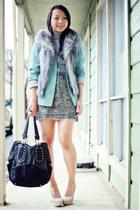 light blue beaded Zara skirt - aquamarine boyfriend thrifted blazer