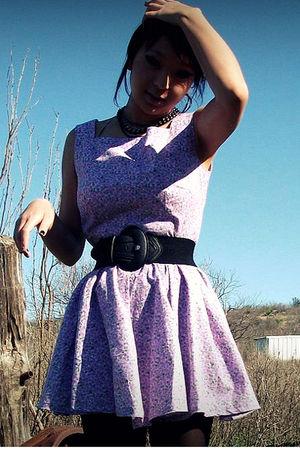 purple DIY dress - f21 belt