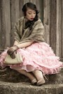 Bubble-gum-lace-custom-made-dress-tan-shawl-vintage-scarf