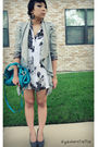 White-thrifted-dress-gray-asos-blazer