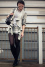 Gray-blazer-white-top-gray-skirt-black-shoes-silver-necklace-black-pur
