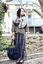 dark gray snakeskin maya dress - olive green military jacket Forever 21 jacket