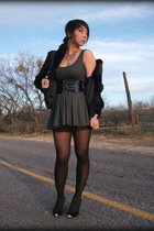 gray f21 dress - black f21 skirt - black vintage coat - Jeffrey Campbell shoes -