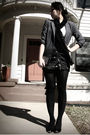 Gray-vintage-blazer-black-skirt-black-scarf-f21-shirt-modcloth-shoes-f