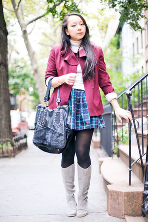 blue plaid American Apparel skirt - gray equestrian Old Navy boots