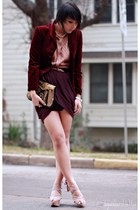 crimson velvet thrifted blazer - maroon drape Forever 21 skirt
