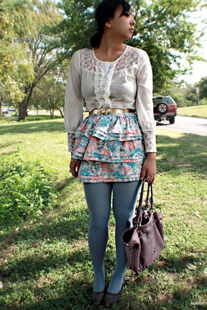 blue welovecolors accessories - white modcloth blouse - blue Urban Outfitters sk