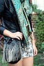 Black-forever-21-jacket-green-dress-street-vendor-scarf