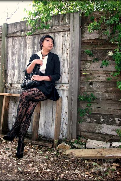black vintage blazer - f21 necklace - asos skirt - Topshop tights - leonello bor