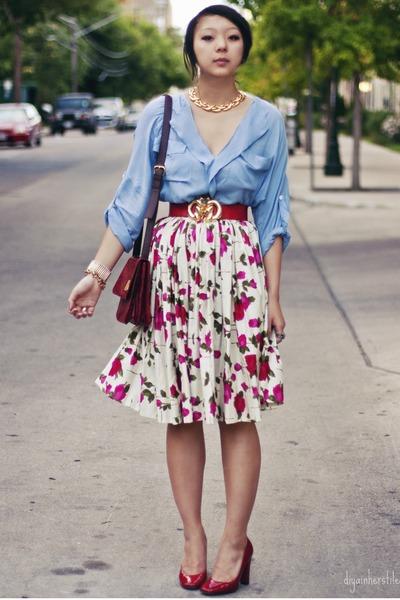 ruby red vintage vintage belt - hot pink floral print vintage skirt - sky blue b