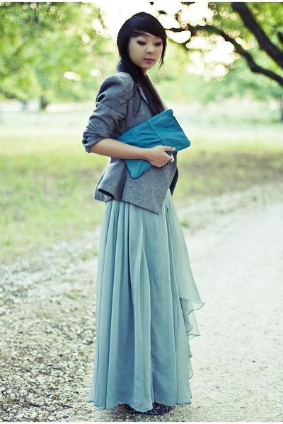heather gray vintage vintage blazer - light purple wedges Forever 21 heels
