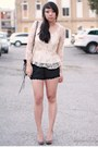Light-brown-leather-rebecca-minkoff-bag-black-scalloped-urban-outfitters-short