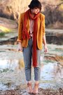 Gold-vintage-blazer-gray-lulus-pants-ruby-red-forever-21-scarf