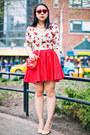 Off-white-floral-sweater-red-studded-bag-brick-red-retro-sunglasses