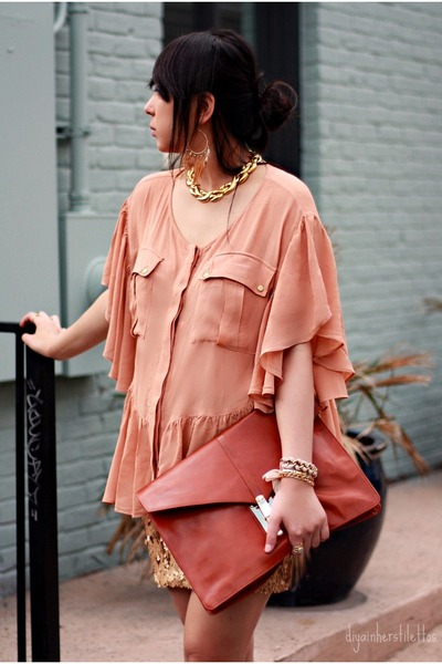light orange sequin Charlotte Russe skirt - tawny leather asos bag