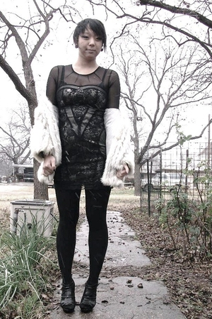 vintage jacket - f21 dress - f21 shoes - UO tights - f21 earrings