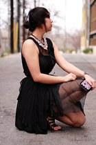 black sheer asos dress - silver crystal Lydell necklace