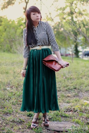 white striped Forever 21 shirt - brown leather asos bag - dark green maxi Americ