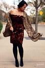 Brick-red-vintage-dress-bronze-forever-21-scarf