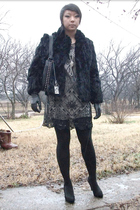 black Lipsy dress - black vintage coat - Ebay necklace - black UO tights - black