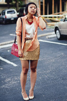 gold sequined Charlotte Russe skirt - ruby red leather lulu bag