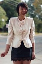 black leather Forever 21 skirt - ivory thrifted blazer