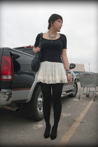 black asos tights - black Old Navy shirt - f21 skirt - lulus shoes - UO ebay f21
