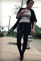 black blazer - black skirt - black shoes - silver necklace