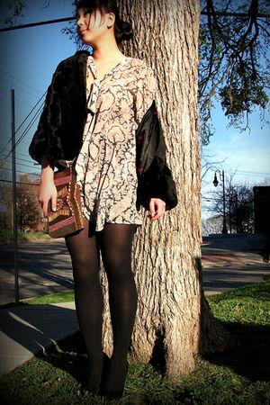 black vintage coat - asos dress - asos purse