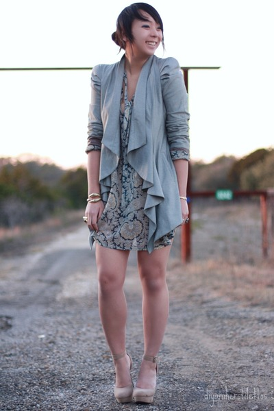 neutral paisley asos dress - heather gray drape asos blazer - camel Forever 21 h
